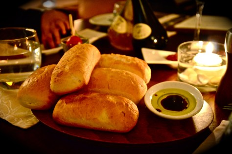 Complimentary bread and olive oil dipper