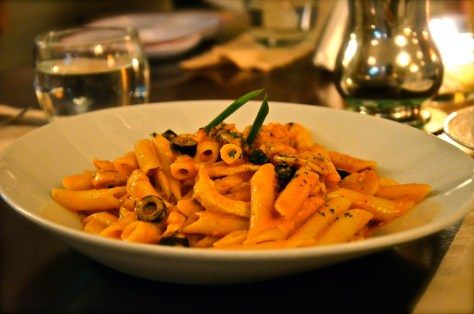 Chicken, mushroom, olives and tomatoes with penne - dhs