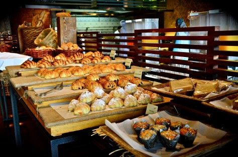 Croissants, muffins, breads at Ballaro breakfast, Conrad Dubai