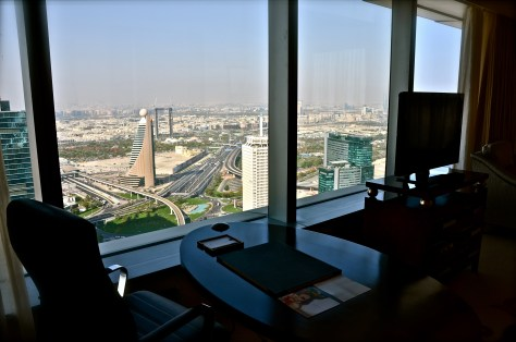The view from the work desk at Conrad Dubai