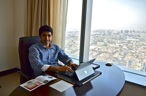 Work Desk at the Executive Sutie with a view of Dubai from the 45th Floor