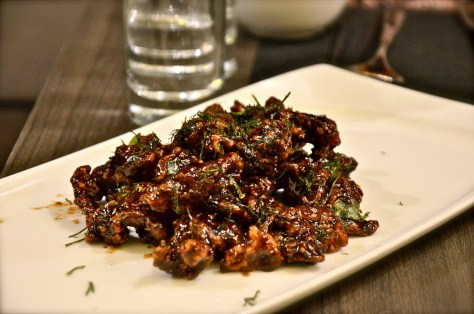 Mongolian Beef - dhs 71 - Sirloin beef slices, fried to a slight crisp & served with a sweet pepper sauce