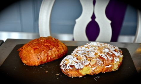 From left: Chocolate croissant (Aed 14) and Almond Croissant(Aed 19)