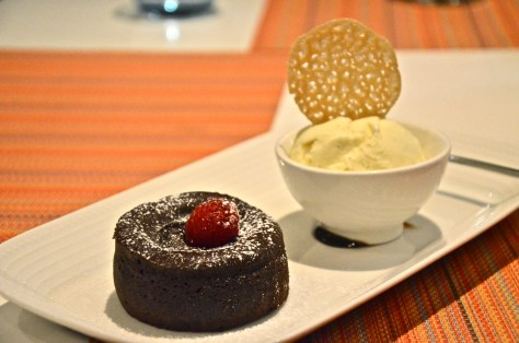 Hot chocolate fondant - AED 35 - Espresso chocolate sauce, twist butter tuille, vanilla ice cream