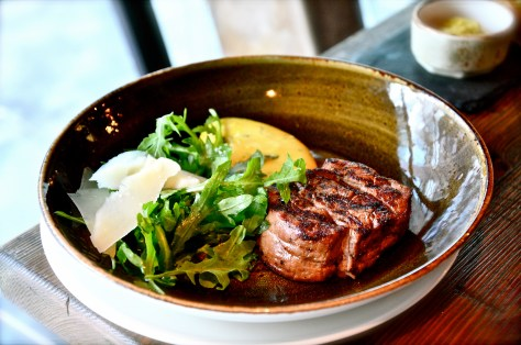 Fillet Steak - grilled steak, cooked to order, served with a fresh rocket & parmesan salad & a classic béarnaise sauce