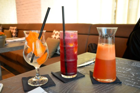 Mocktails - The Defender - pomegranate, pineapple, grapefruit, carrot(dhs 24) and Sangria Mocktail - grape, cranberry, grenadine, orange, ginger ale - AED 19
