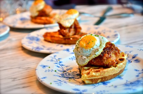 Fried Chicken Waffle - Southern fried chicken + buttermilk waffles + hot sauce maple syrup