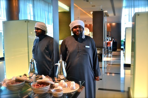 Traditional dates and Arabic coffee served at the Lobby of Park Rotana, AbuDhabi