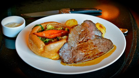 Mains - Roast Beef or Roast Chicken, Yorkshire pudding, Seasonal vegetables, Roasted Potatoes and gravy