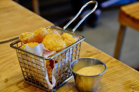 "SHRIMP ""POPCORN - tempura of baby prawns/chipotle ranch dipping sauce"