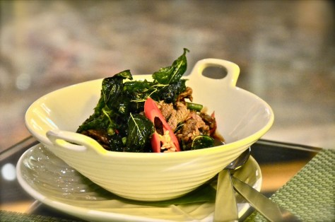 Phad Kraprow(AED 80) - Beef - wok fried with chilli, long bean and hot basil leaves