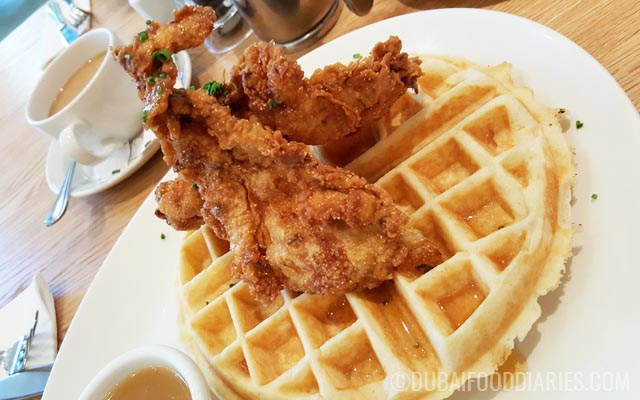 Fried chicken and waffles at Clinton Street Baking Company Dubai