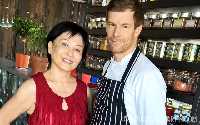 Mum and Tom Aikens at Pots Pans and Boards at The Beach Dubai
