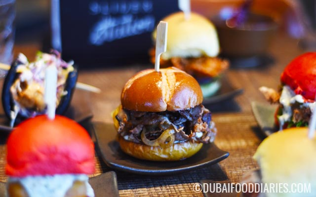 Philly cheese and other sliders at Slider Station Galleria Mall Al Safa Dubai