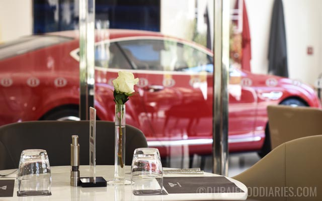 View into showroom at Bentley Cafe in Dubai Marina