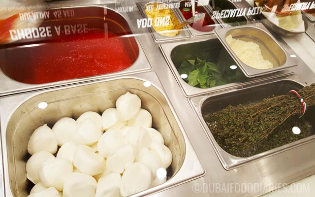 Ingredients at 800 Degrees Neapolitan Pizzeria Mall of the Emirates Dubai