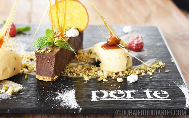 Chocolate brick with passionfruit semifreddo at Per Te restaurant Jumeirah 1 Dubai