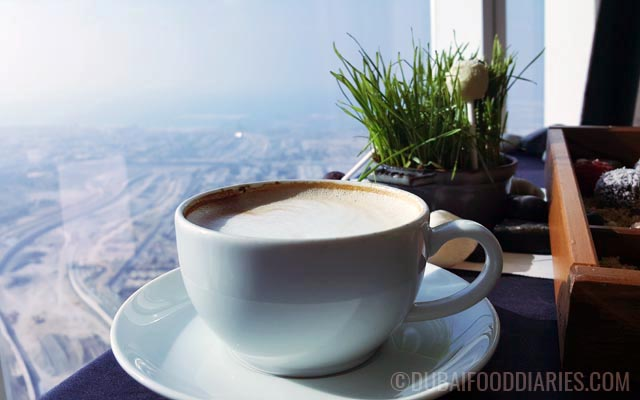 Coffee with a view of Arabian Gulf at Tea Party on 68th Prime68 JW Marriott Marquis Dubai