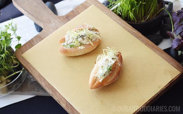 Mini chicken baguettes at Tea Party on 68th Prime68 JW Marriott Marquis Dubai