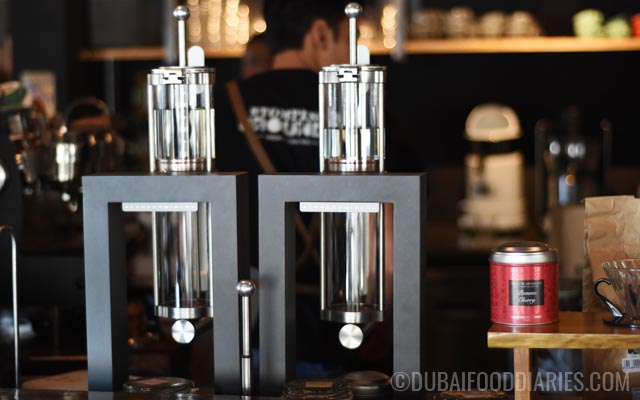 Alpha Dominche Steampunk craft brewing tea machine at Stomping Grounds Coffee Hub Jumeirah 1 Dubai