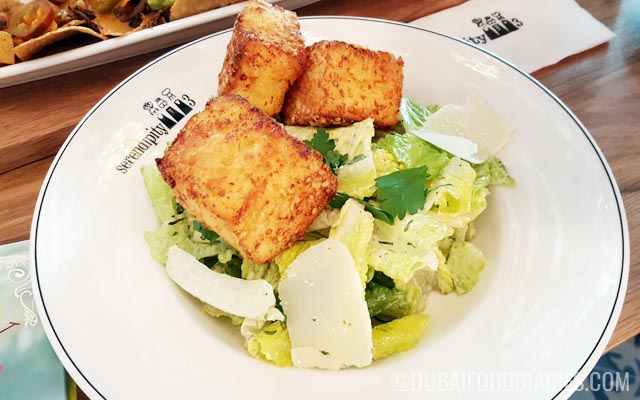 Caesar salad with giant croutons at Serendipity 3 Dubai Festival City