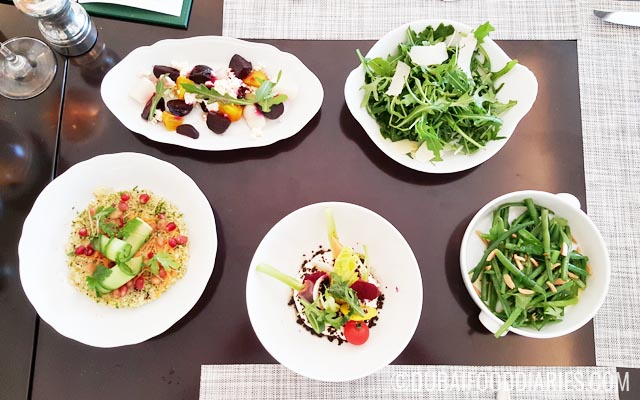 Salads and greens at Brunch at the Manor Brasserie Quartier St Regis Dubai
