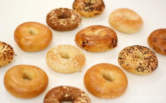 Spread of bagels from Gulf Bagel Factory Dubai