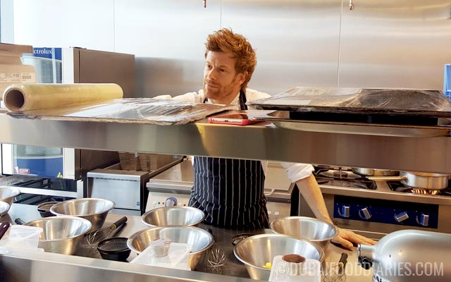 Tom Aikens in his kitchen at Pots Pans and Boards The Beach Dubai