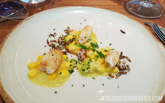 Squid with sweet corn and wild rice at Intersect by Lexus Dubai International Financial Center DIFC Dubai