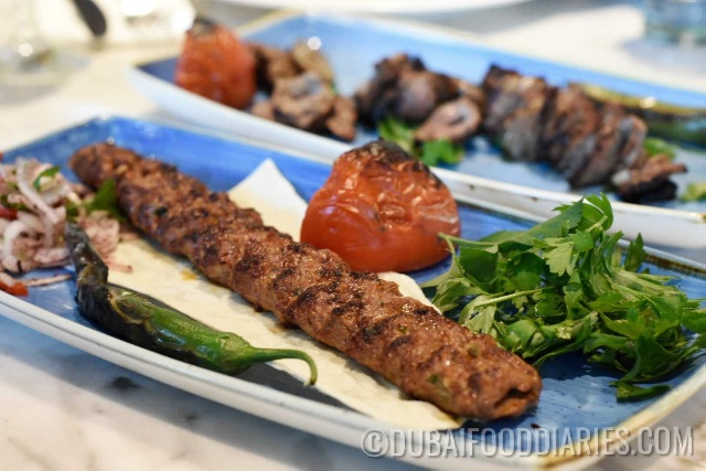 Minced lamb kebabs at Gunaydin, Souk al Bahar, Downtown Dubai