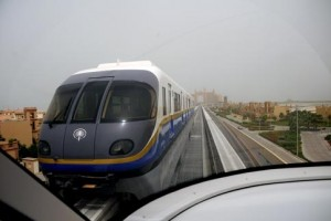 A train passes along the track. The monorail runs four trains between the Gateway Towers and Atlantis stations, with a capacity of 2,400 passengers per hour. Photograph: Mehdi Shirazi/Maktoob Business