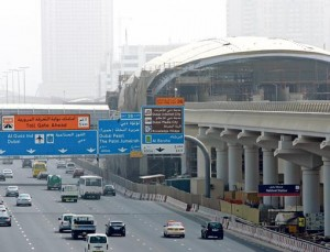 A view of the Dubai Metro's Nakheel station. The Nakheel Metro Station, which services the Red line, is situated close to the fifth interchange on Shaikh Zayed Road.