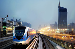 The Gulf emirate's new metro network operated during a trial session on August 9, 2009.