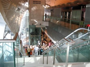 The exit stairway at the Mall of the Emirates station.