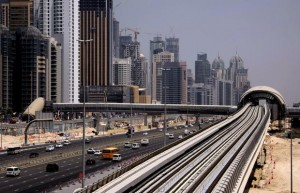 The Dubai metro track is seen along Dubai's Shiekh Zayed road on September 9 as the United Arab Emirates prepare to open its new metro network in a bid to cut dependency on cars and ease congestion. Dubai will become the first city in the oil-rich Gulf to introduce rail as a commuting option. Photograph by: Karim Sahib, AFP/Getty Images