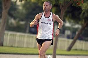 Nick Berrill pounds the pavement in Dubai. Jeff Topping / The National