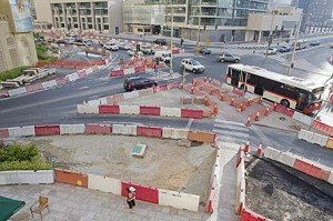 Construction of the new tram system running through the marina area along Sheikh Zayed Road. Roadworks are expected to continue until the end of 2010. Duncan Chard for The National