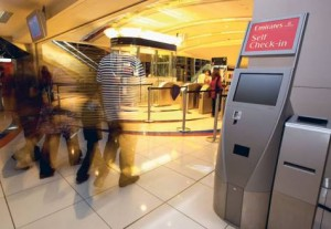 *  A check-in kiosk has been installed at the Mall of the Emirates for Emirates airline passengers flying from the Dubai airport     * Image Credit: Xpress /Oliver Clarke