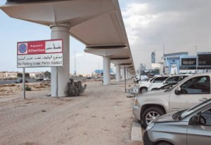 * A sign saying 'No parking under Metro viaduct' is installed on Shaikh Zayed Road close to the Oasis Centre.     * Image Credit: Oliver Clarke/ Gulf News