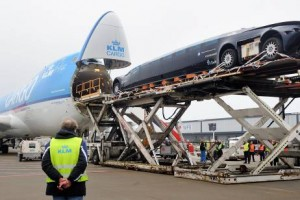 The Superbus is loaded into a KLM cargo airplane at Schiphol airport in The Netherlands.  EPA/LEX VAN LIESHOUT
