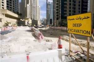 Work resumes on an elevated section of the Al Sufouh tram project that will run through the Dubai Marina area and Sheikh Zayed Road. Construction was delayed by the global economic slump. Duncan Chard for The National