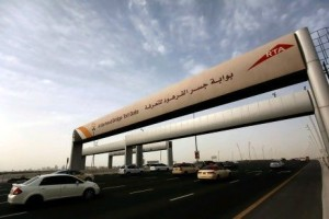 Dubai , United Arab Emirates- April 07, 2011: Salik the New Electronic toll system offered by Roads and Transport Authority. Salik utilizes the latest technology to achieve free flow operation with no toll booths, and free traffic flow in Dubai . ( Satish Kumar / The National )