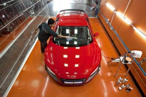 The polishing expert Mujeeb works on a rare Audi R8 GT at Select Nano in Dubai.  Jeff Topping / The National