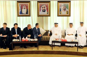 Al Tayer receiving the Ukrainian Deputy Prime Minister and accompanying delegation.