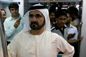 Sheikh Mohammed Bin Rashid Al Maktoum, Vice President of the UAE and Ruler of Dubai, surprised commuters on Tuesday when he took the Dubai Metro Green Line to an appointment in Deira.  Courtesy Dubai Media Office
