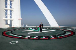 *  Image Credit: Supplied     * Photo of a 40m abaya designed by Lamya Abedin in honour of the UAE's 40th national day, taken on the helipad of Burj Al Arab by Nabila Abbas with the support of SkyDive Dubai.