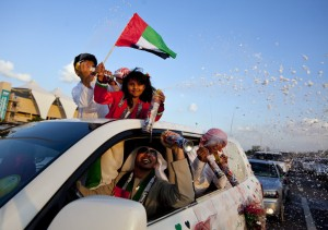 People show off their decorated cars during the Spirit of Union parade at Yas Island near Abu Dhabi. Silvia Razgova/The National