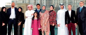 The eight ambassadors and three youth winners of the Dubai expo bid's 'be part of it' competition.