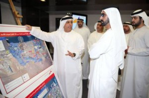 Image Credit: WAM     The UAE Vice President and Prime Minister and Ruler of Dubai, His Highness Sheikh Mohammed bin Rashid Al Maktoum, today afternoon toured the Road and Transport Authority (RTA) in Dubai Sheikh Mohammed was briefed about the RTA projects and strategic plans regarding the execution of roads and bridges' networks in order to keep pace with the rapid urban and population growth in the Emirate of Dubai.