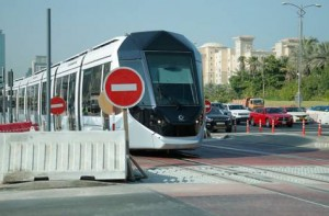 Image Credit: Clint Egbert/Gulf News New signs and pavement markings have been put up all along the 10.6 kilometre tram network ahead of its November 11 opening and RTA has urged motorists as well as pedestrians to learn and understand the signs before they use roads shared with Dubai Tram.